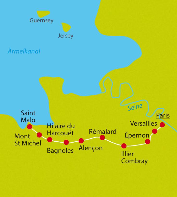 Die Karte der individuellen Radreise auf der Véloscenie von Paris zum Mont Saint Michel