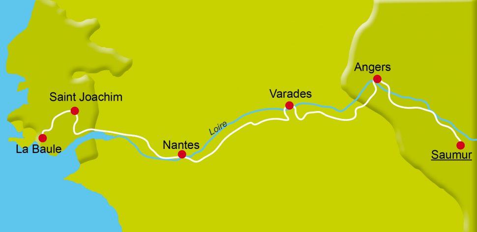 Karte der Radreise Loire Atlantik