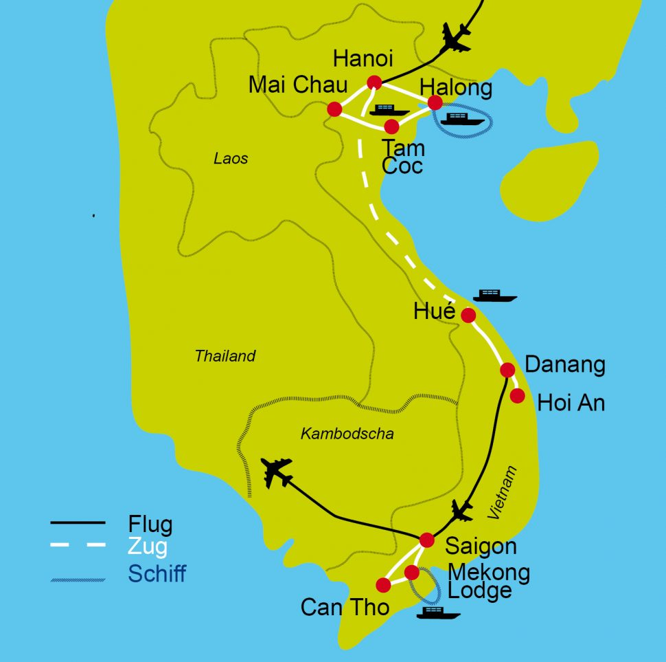 Karte der Radreise durch Vietnam