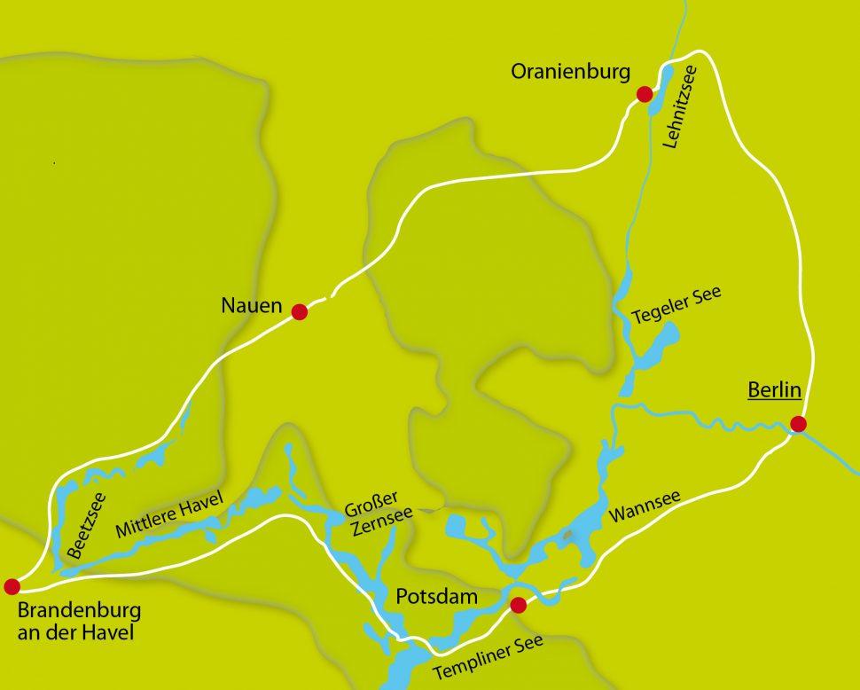 Karte der Radreise Berlin - Potsdam