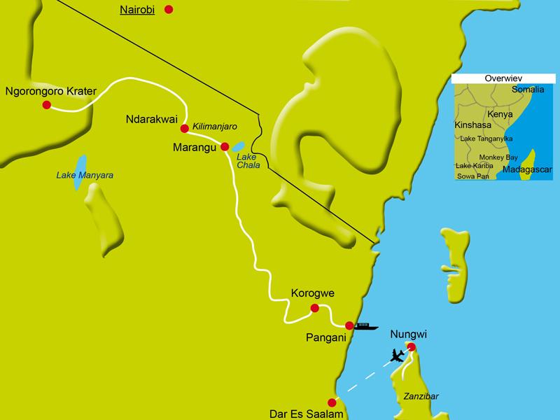 Karte mit Reiseetappen in Tansania